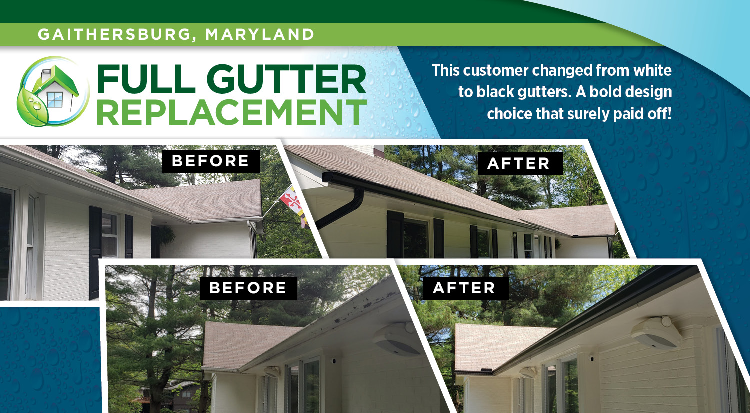 White to Black Gutters Before & After Image